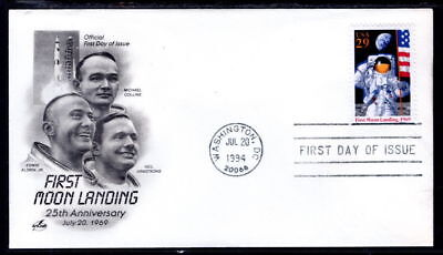 Apollo 11 25th 50th Anniversary First Moon Landing  Space Stamp First Day Cover!