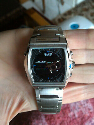 Casio EFA-120D-1A Edifice Mens 100M Stainless Steel Thermometer