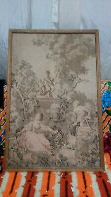 """Antique Tapestry Wall Hanging Made in France? 27"""" X 18"""" Victorian scene framed"""