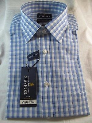 NWT STAFFORD EASY CARE BROADCLOTH  DRESS SHIRT Reg Fit Spruce Stone Green Solid
