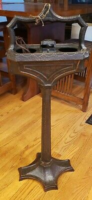 Art Nouveau Hammered Bronze Brady Lite Smoking Stand as-is Detroit Mission style