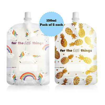 Sinchies 150ml Pineapples & Unicorns Reusable Food Pouches Top Spout Pack of 10