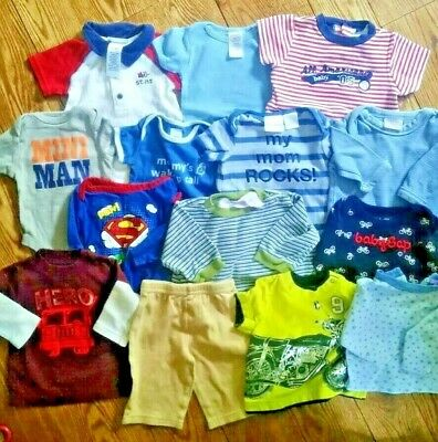 Huge 14 Pc Lot Baby Boy 0-3 Months Outfits Gap Old Navy Superman Gerber Carters