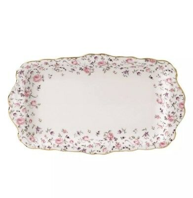 Royal Albert Rose Confetti Vintage Formal Rectangular Serving Tray NEW IN BOX