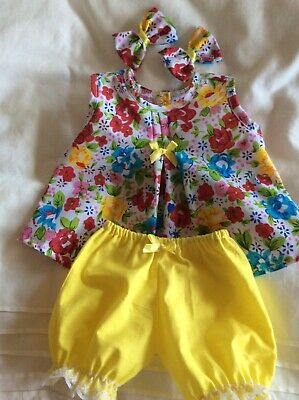 "DOLLS CLOTHES TO FIT 16"" CABBAGE PATCH DOLL -  3Piece Set Bright Flowers  Yellow"