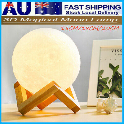 Dimmable 3D Magical Moon Lamp LED USB Night Light Moonlight Touch Sensor Lamp AU