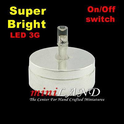 DIY LED BRIGHT BASE SILVER ON/OFF SWITCH BATTERY BRIGHT dollhouse miniature 1:12