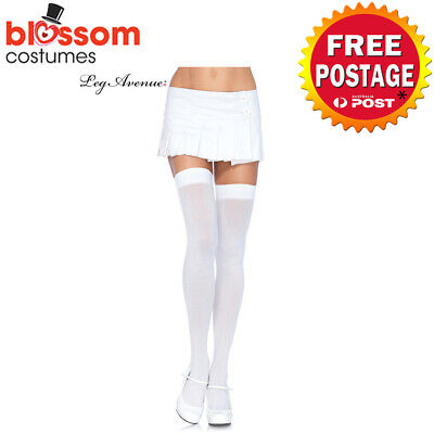 AC630 Leg Avenue White Opaque Thigh High Tights Pantyhose Costume Stockings
