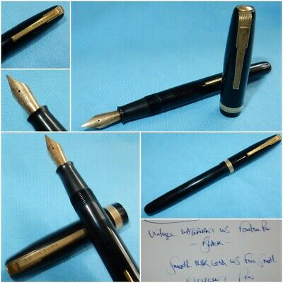 VINTAGE WATERMAN's W3 FOUNTAIN PEN - 14K GOLD FINE SMOOTH NIB - 130 mm