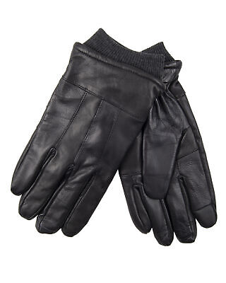 Heat Edge Warm Winter Leather Touchscreen Driving Mens Gloves