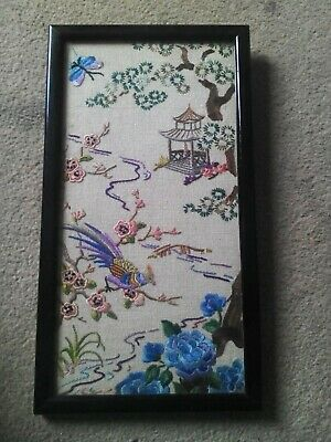 Old Late Victorian Antique Chinese/Japanese Silk Embroidery Birds Butterflies..