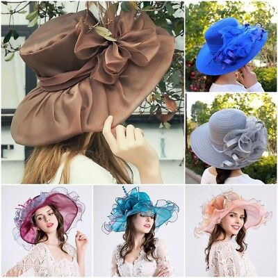 c0701dad268fa Lady Wide Brim Kentucky Derby Sun Hat Women Wedding Tea Party Church Caps