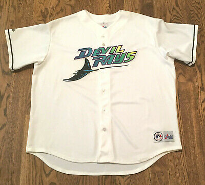 newest 51d6e 33aac VINTAGE TAMPA BAY Devil Rays Jersey XXL Majestic Baseball Sewn