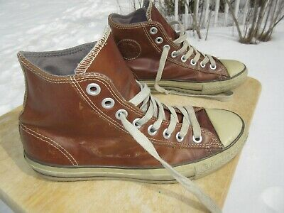 2a0146a2f0dd26 CONVERSE ALL STAR Hi Top Brown Leather Unisex Shoe   Pre-owned   M 10