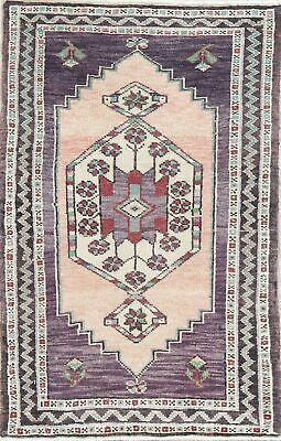 One-of-a-Kind Geometric Purple Oushak Turkish Oriental Hand-Knotted 2x3 Wool Rug