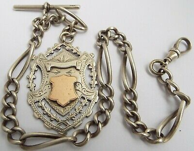 Lovely English Antique Victorian 1896 Sterling Silver Fancy Link Albert Chain
