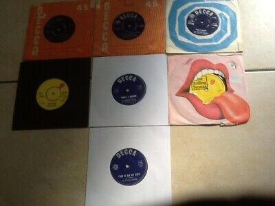 "Job lot of 7 x Rolling Stones 7"" Vinyl 45rpm Records. All Play Well 5 UK- 2 Aust"