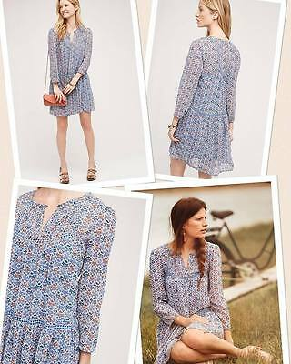 465072963fc7 ANTHROPOLOGIE - HOLDING HORSES Peasant Drop Waist Silk Dress size 8   M   168 NEW