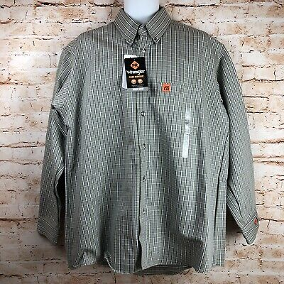 647566bf6be NEW Wrangler Mens Large FR Riggs Workwear Flame Resistant Button Down Work  Shirt