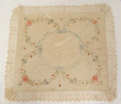 """ANTIQUE Society Silk Hand Embroidered Floral Tablecloth Ecru Lace Trim 40"""" x 35"""""""