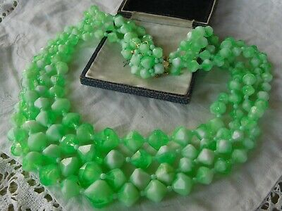 Lovely Colourful Vintage 1950s FOUR STRAND Green Lucite Necklace