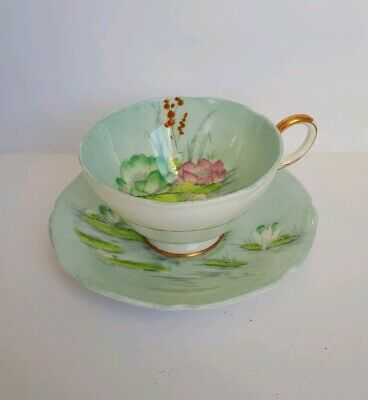 Vintage Paragon Cup And Saucer Water Lily Pink Flowers Blue Green