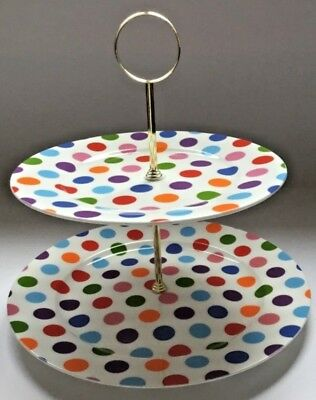 Kirsty Jayne Bone China 2 tier cake stand, multispots