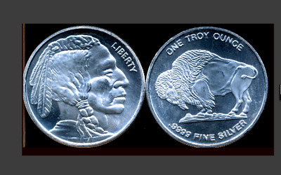 1 OZ INDIAN BUFFALO SILVER ROUND ONE TROY oz FIRST 9999 YES 4 NINES