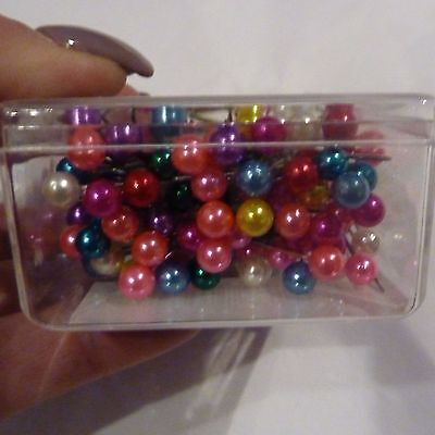 Mixed colour pearl headed corsage pins 144 quilting floristry floral art crafts