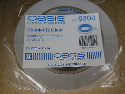 Double Sided Sticky Tape 25m x 2.5cm Clear Floristry and Craft strong secure
