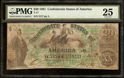 1861 $20 Dollar Bill Confederate States Currency Civil War Note Money T-17 Pmg