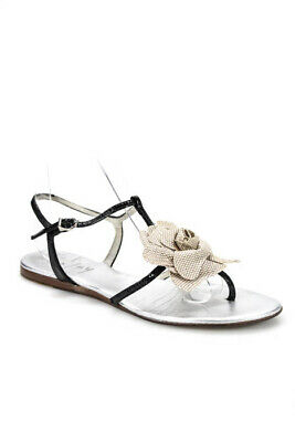 0e3fb04bb FS NY Women s Flat Sandals Size 7 Silver Black Ankle Strap Flower Design