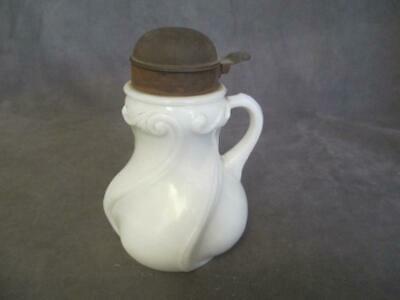 Antique Milkglass Swirl Wave Pattern Syrup Pitcher