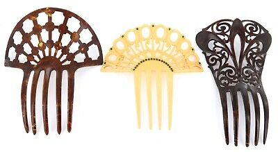 3 x EARLY 1900s LARGE XYLONITE & FAUX TORTOISESHELL LADIES HAIR COMBS.