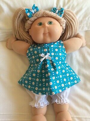 "DOLLS CLOTHES TO FIT 16"" CABBAGE PATCH DOLL -  3Piece Set Turquoise/ Daisies"