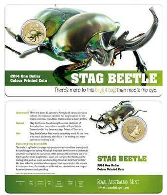 2014 $1 Bright Bugs - Stag Beetle Colour Printed Coin