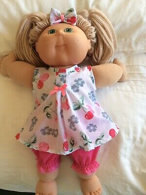 "DOLLS CLOTHES TO FIT 16"" CABBAGE PATCH DOLL -  3Piece Set Pink /pink. Cherries"