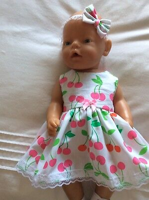 """Doll Clothes to fit 17"""" Baby Born doll ~ Dress & hband  ~ Pink And Red Cherries"""