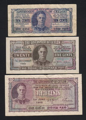 Ceylon P-43a,44b,45a. 1942 10c(F), 1949 25c(EF) & 1948 50c(VF). 3 Notes