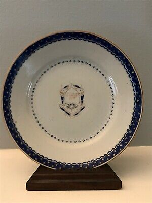 18th Century Chinese. Export Armorial Plate Blue Gold Stars Crest Porcelain