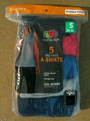 New 5 Pack Fruit of the Loom Tag-Free A-Shirts T-Shirt Tanks Men's size Small S