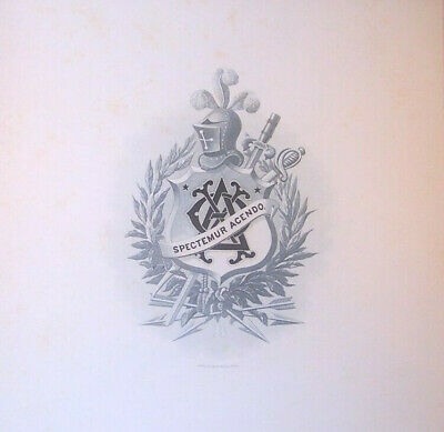"""ANTIQUE Theta Delta Chi fraternity crest print, 9 15/16"""" x 7 1/4"""" 1880's OLD"""