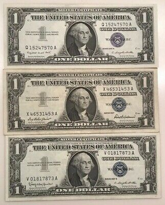 Lot of (3) 1957, A & B $1 Silver Certificate Blue Seal