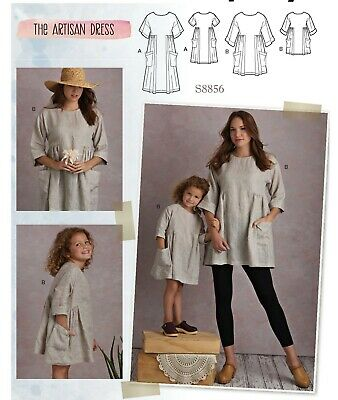 S8856 Sewing Pattern Artisan Dress Tunic Misses Sizes 6-24 Girl's Size 3-8