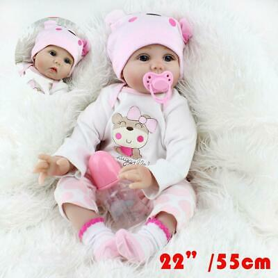 "22"" Reborn Baby Dolls Realistic Silicone Vinyl Newborn Baby Girl Doll + Clothes"