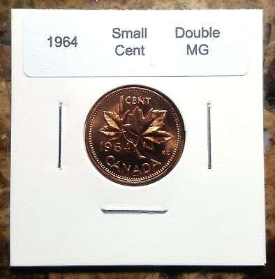 Canada 1964 Small Cents *Double MG Variety* Gem BU UNC Penny!!