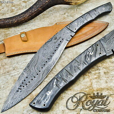Royal Custom Hand Made Damascus Steel Integral Forged Hunting Knife - Ro-8166