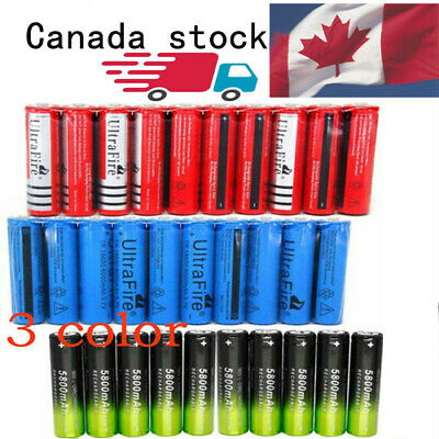 10pcs 6000mAh 18650Batteries Tricolor optional 3.7V Rechargeable ChargerCA STOCK