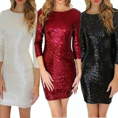 Sequin Dress Mini Club Backless Bodycon Party Nightclub Vintage Womens Dresses