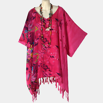 P21452 New Pink Fish Nature Caftan Tunic Hippie Top Plus Size Womens 3X 4X 5X